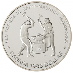1988 Canada Proof Silver Dollar - Saint-Maurice Ironworks