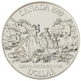 1989 Canadian $1 Mackenzie River Exploration 200th Anniv Brilliant Uncirculated Silver Dollar Coin