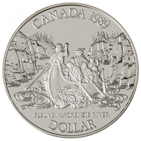 1989 Canadian $1 Mackenzie River Exploration 200th Anniv Proof Silver Dollar Coin