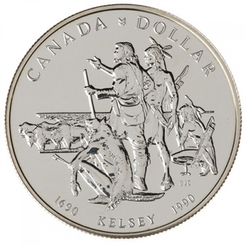 1990 (1690-) Canadian $1 Henry Kelsey's Prairies Exploration 300th Anniv Brilliant Uncirculated Silver Dollar Coin