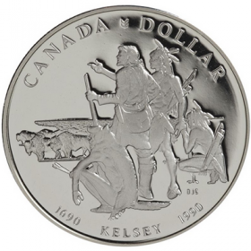 1990 (1690-) Canadian $1 Henry Kelsey's Prairies Exploration 300th Anniv Proof Silver Dollar Coin
