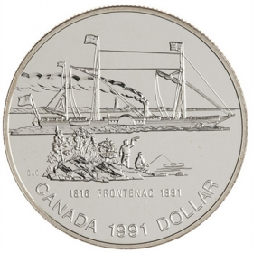 1991 (1816-) Canadian $1 Steamer Frontenac Launch 175th Anniv Brilliant Uncirculated Silver Dollar Coin