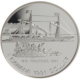 1991 (1816-) Canadian $1 Steamer Frontenac Launch 175th Anniv Proof Silver Dollar Coin