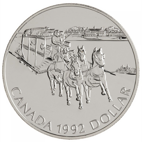 1992 Canadian $1 Kingston to York Stagecoach Brilliant Uncirculated Silver Dollar Coin