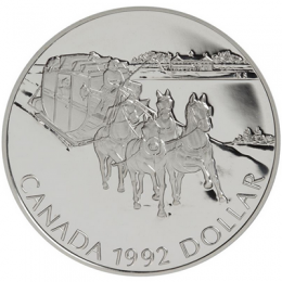 1992 Canada Proof Silver Dollar - Kingston to York Stagecoach
