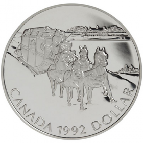 1992 Canadian $1 Kingston to York Stagecoach Proof Silver Dollar Coin