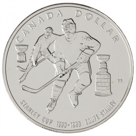 1993 (1893-) Canadian $1 Stanley Cup® 100th Anniv Brilliant Uncirculated Silver Dollar Coin