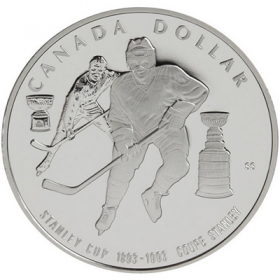 1993 (1893-) Canadian $1 Stanley Cup® 100th Anniv Proof Silver Dollar Coin