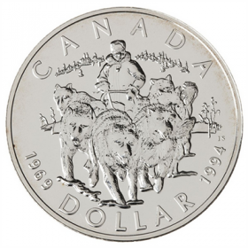 1994 (1969-) Canadian $1 Last RCMP Dog Team Patrol 25th Anniv Brilliant Uncirculated Silver Dollar Coin