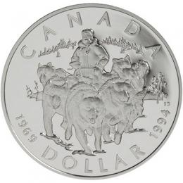 1994 Canada Proof Silver Dollar - R.C.M.P. Northern Dog Team Patrol