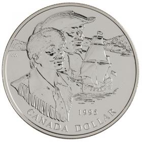 1995 Canadian $1 Hudson's Bay Company 325th Anniv Brilliant Uncirculated Silver Dollar Coin