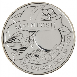 1996 (1796-) Canadian $1 McIntosh Apple 200th Anniv Brilliant Uncirculated Silver Dollar Coin