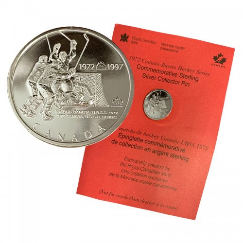 1997 (1972-) Canadian Canada vs USSR (Russia) Hockey Series 25th Anniv Sterling Silver Collector Pin