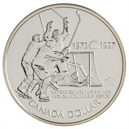 1997 (1972-) Canadian $1 Canada vs USSR (Russia) Hockey Series 25th Anniv Brilliant Uncirculated Silver Dollar Coin