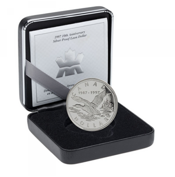 1997 Proof Silver Dollar - 10th Anniversary of the One Dollar Loon
