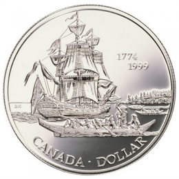 1999 (1774-) Canadian $1 Voyage of Juan Perez 225th Anniv Brilliant Uncirculated Silver Dollar Coin
