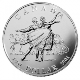 2001 (1951-) Canadian $1 National Ballet of Canada 50th Anniv Brilliant Uncirculated Silver Dollar Coin