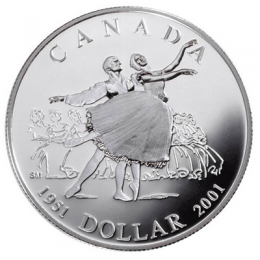 2001 Canada Proof Silver Dollar - 50th Anniversary of the National Ballet of Canada