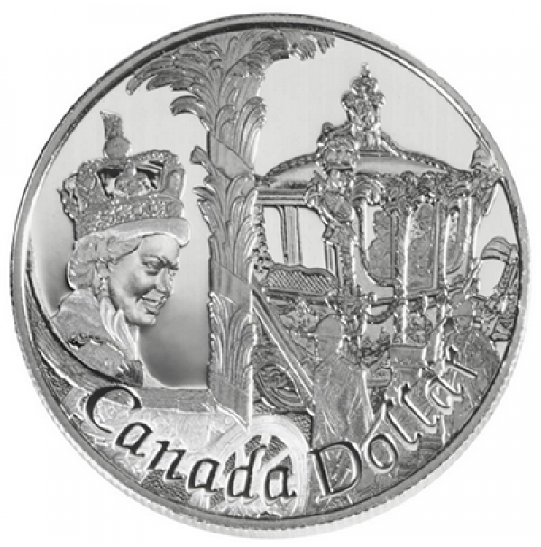 2002 Canada Proof Silver Dollar - 50th Anniversary of Queen Elizabeth II's Accession to the Throne