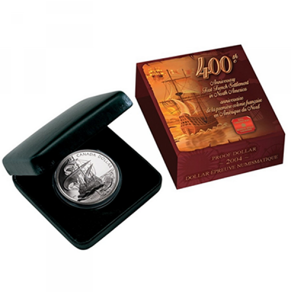 2004 Proof Fine Silver Dollar - 400th Anniversary of the First French Settlement in North America