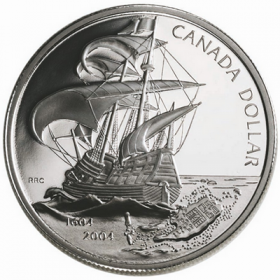 2004 (1604-) Canadian $1 First French Settlement in North America 400th Anniv Proof Silver Dollar Coin