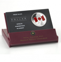 2005 Proof Red Enamel Fine Silver Dollar - 40th Anniversary of Canada's National Flag