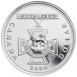 2006 Canadian $1 Victoria Cross 150th Anniversary Brilliant Uncirculated Silver Dollar Coin