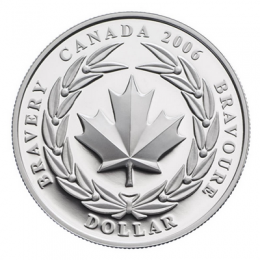 2006 Canadian $1 Medal of Bravery Proof Silver Dollar Coin (Special Edition)