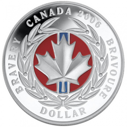 2006 Canadian $1 Medal of Bravery Proof Silver Dollar with Enamel-Effect Coin (Special Edition)
