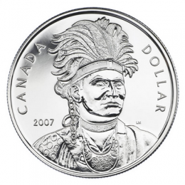 2007 Canadian $1 Celebrating Thayendanegea (Joseph Brant) Brilliant Uncirculated Silver Dollar Coin