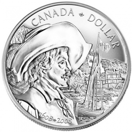 2008 (1608-) Canadian $1 Samuel de Champlain/Quebec City 400th Anniv Brilliant Uncirculated Silver Dollar Coin