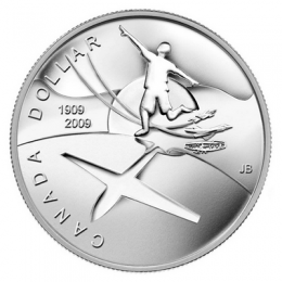 2009 (1909-) Canadian $1 First Flight in Canada 100th Anniv Brilliant Uncirculated Silver Dollar Coin
