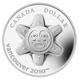 2010 Canadian $1 Vancouver Olympics: The Sun Proof Silver Dollar Coin (Limited Edition)