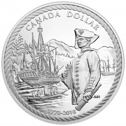 2018 (1778-) Canadian $1 Captain Cook at Nootka Sound 240th Anniv Proof Silver Dollar Coin