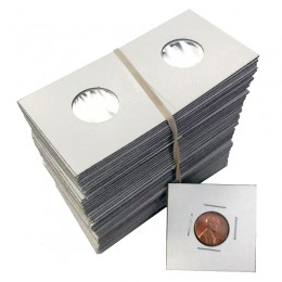 2x2 Cardboard Flip Coin Holders for Cents, Dimes (1 Cent, 10 Cents) - 20 mm, Staple-type (100ct)
