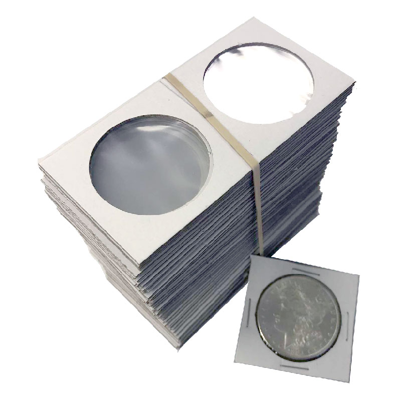 2x2 Cardboard Flip Coin Holders for Large Dollars (Nickel, Silver) - 39 mm,  Staple-type (100ct)