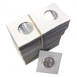 2x2 Cardboard Flip Coin Holders for Quarters (25 Cents) - 24 mm, Staple-type (100ct)
