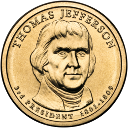 2007-P American $1 Presidential Series: Thomas Jefferson Brilliant Uncirculated Coin