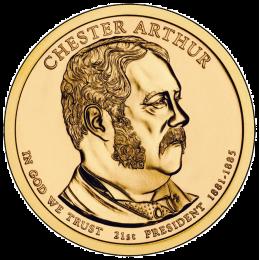 2012-P American $1 Presidential Series: Chester A. Arthur Brilliant Uncirculated Coin