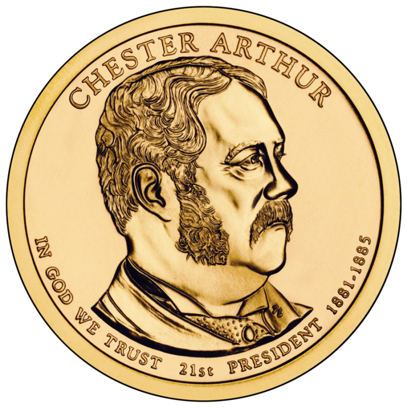 2012-P GROVER CLEVELAND 1st TERM GOLDEN PRESIDENTIAL DOLLAR from Mint Roll UNC