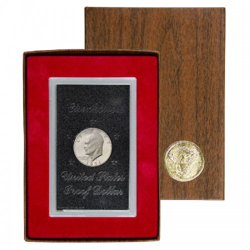 1971 S United States $1 Eisenhower US Silver Proof Dollar Coin w/ Original Brown Box