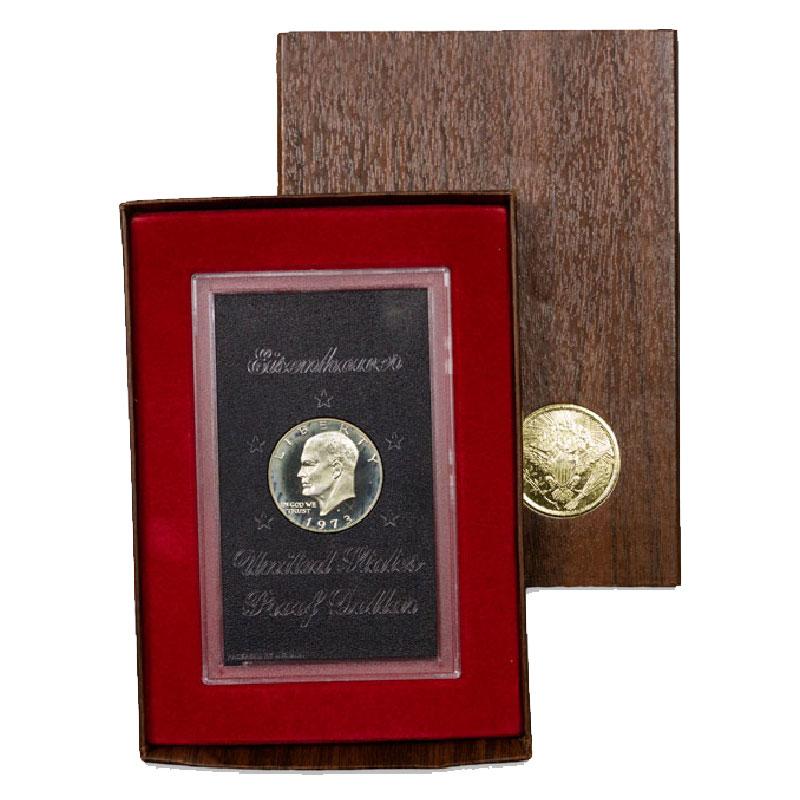 1971-S Dwight D Eisenhower Proof 40/% Silver Dollar U.S Mint Brown Box Ike
