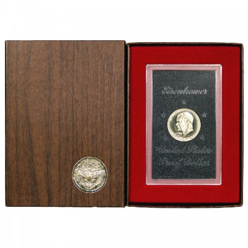 1974 S United States $1 Eisenhower US Silver Proof Dollar Coin w/ Original Brown Box