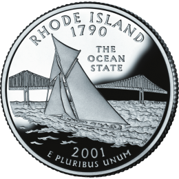 2001-P American 25-Cent State Quarter Series: Rhode Island Brilliant Uncirculated Coin