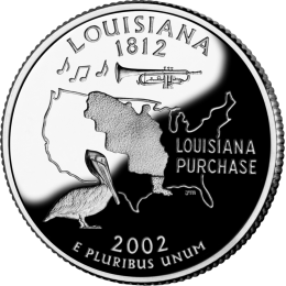 2002-P American 25-Cent State Quarter Series: Louisiana Brilliant Uncirculated Coin