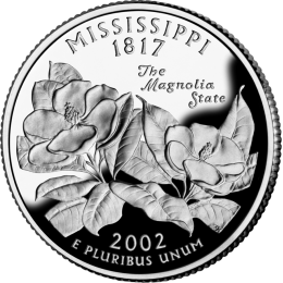 2002-P American 25-Cent State Quarter Series: Mississippi Brilliant Uncirculated Coin