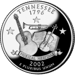 2002-P American 25-Cent State Quarter Series: Tennessee Brilliant Uncirculated Coin
