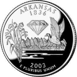 2003-P American 25-Cent State Quarter Series: Arkansas Brilliant Uncirculated Coin