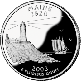 2003-P American 25-Cent State Quarter Series: Maine Brilliant Uncirculated Coin