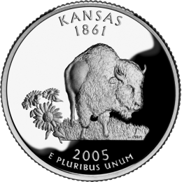 2005-P American 25-Cent State Quarter Series: Kansas Brilliant Uncirculated Coin